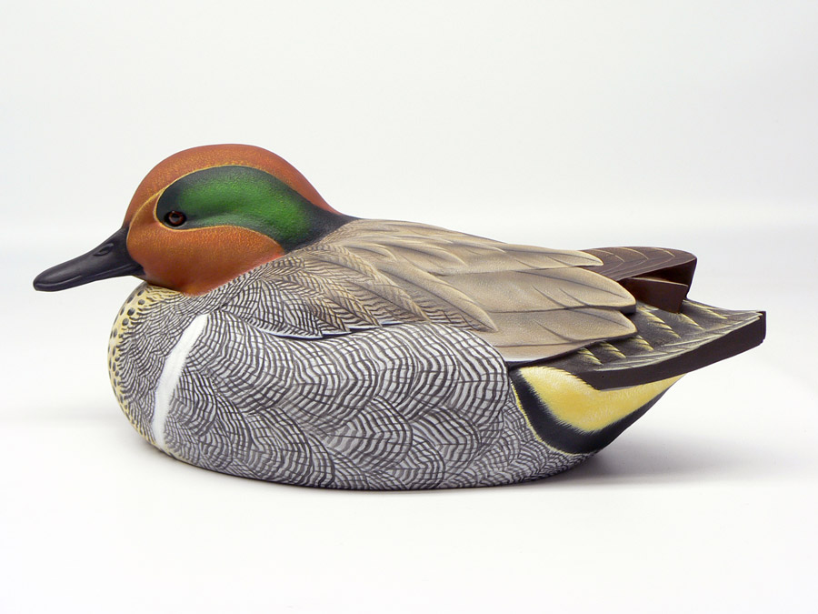Green-winged Teal Drake duck decoy by Jason Lucio